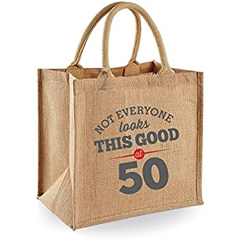 Natural Jute 50th Birthday Gift Bag 30 X 19cm 14 Litre Volume Tote Present Keepsake Grey Design