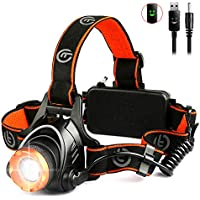 LED Head Torch - OMERIL USB Rechargeable Headlamp with Super Bright 2000 Lumens, XM-L T6 LED, Zoomable 3 Modes, 2*18650 Rechargeable Batteries -4000mAh, Waterproof & Hands Free Front Headlight for Running Walking Cycling Fishing Camping Hiking Outdoor Lighting