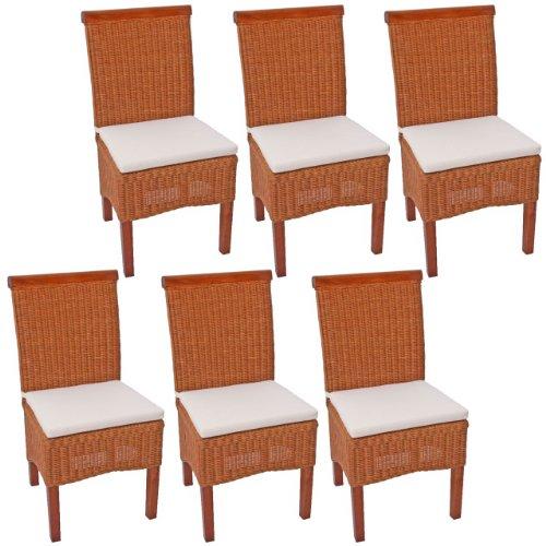 Rattan, Ohne Armlehnen Stuhl (6x Esszimmerstuhl Korbstuhl Stuhl M42, Rattan ~ mit Sitzkissen)