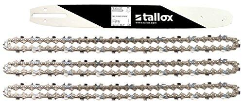 """tallox 1 Espada y 3 Cadenas de Sierra 3/8"""" 1,6 mm 60 eslabones 40 cm Compatible con Stihl"""
