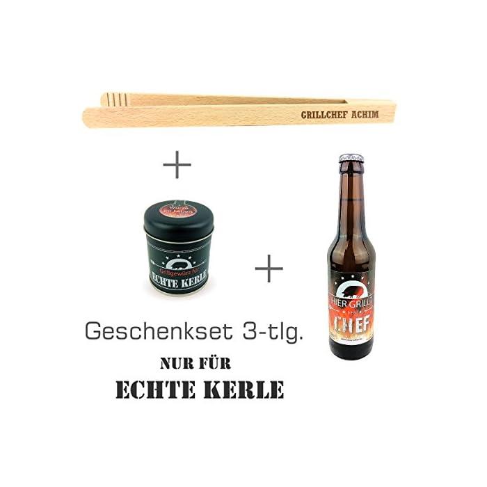 """Geschenkset 3-tlg. """"Nur für echte Kerle"""" mit Bier """"Hier grillt der Chef"""", Grillgewürz und Grillzange mit Namens-Gravur…"""