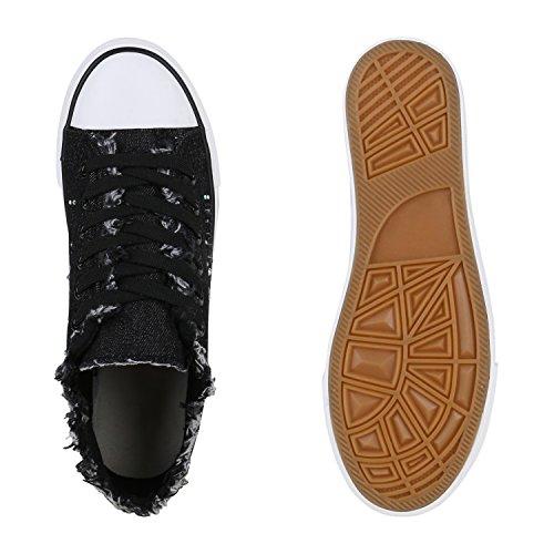 Damen Sneakers Denim Jeans Sportschuhe Fransen Schnürer Schuhe Schwarz