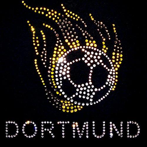 elegantes Fussball Städte Shirt in Strass Stadt Dortmund Strass Pink