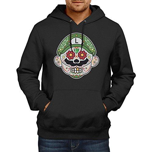 Maker Luigi Kostüm Super Mario - NERDO - Mexican Luigi - Herren Kapuzenpullover, Größe M, schwarz