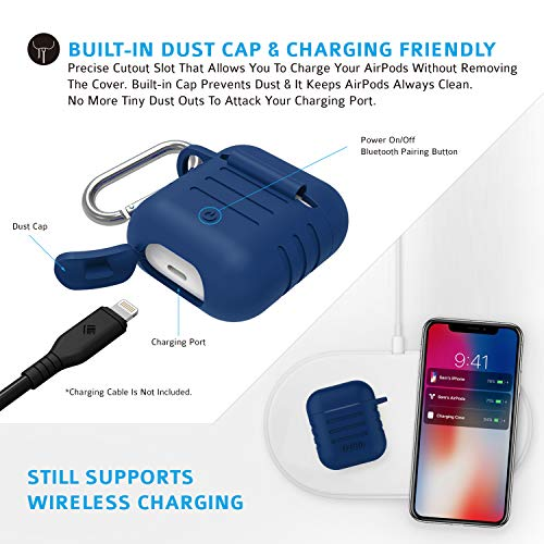 Tizum Apple AirPod Silicone-Shockproof Case Cover with Carabiner Hook (Blue) Image 6