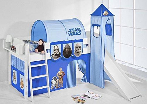 Lilokids ida 4105 star wars - letto a soppalco divisibile, con torre, scivolo e tenda, colore: blu