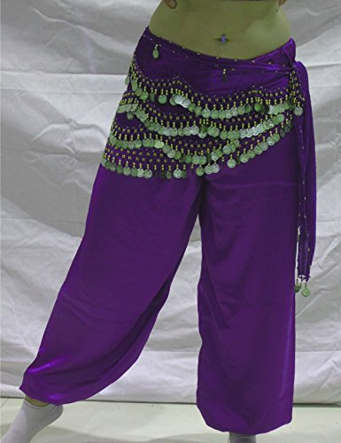 Produktion Tanz Kostüme (Bauchtanz Harem Hosen für Dancing Tribal Dancer Kostüm Yoga Neu M L XL XXL Violett)