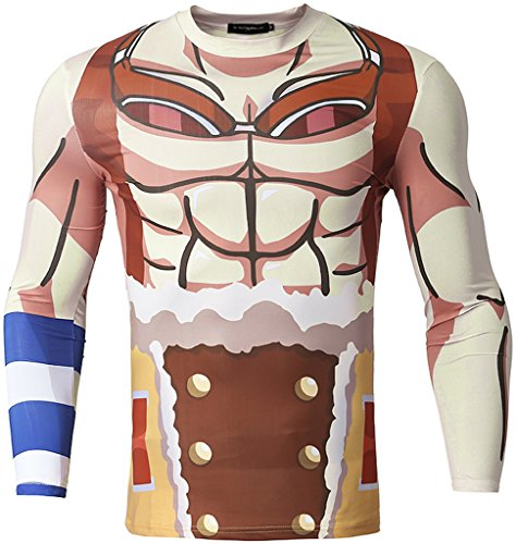 Pizoff Herren Sport fitness langärmliges Muskelshirt T-Shirt mit Animation Cartoon Karikatur Muster Y1733-19