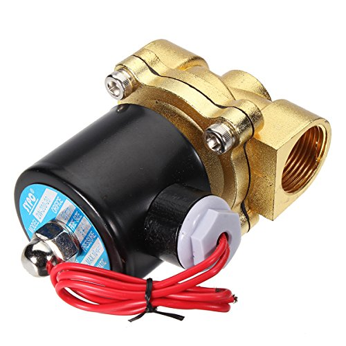 ILS - Brass 220V AC 1/2inch Electric Water Air Fuels Gas Solenoid Valve (Valve Gas 0.5)