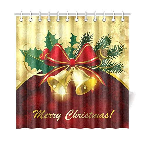 Eybfrre Christmas Bells Bow Home Decor, Red and Gold Polyester Fabric Duschvorhang Bathroom Sets with Hooks 69 X 72 Inches 0J4518 -