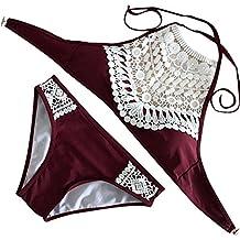 Minetom Mujer Cordón Trajes de Baño Para Bikini de Sostén Rellenado Halter Backless Push-up Acolchado Bra del Nuevo Estilo Playa