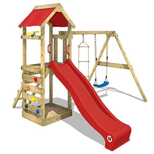 WICKEY Spielturm FreeFlyer Kletterturm mit Rutsche Schaukel Sandkasten Kletterwand Sandkasten, rote Dachplane + rote Rutsche