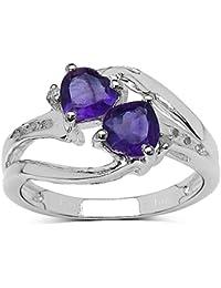 La Colección Anillo Amatistas: Anillo de compromiso de Amatista con corazón y set Diamantes de