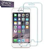Nutmix Panzerglas Schutzfolie für iPhone 8 Plus/7 Plus/ 6s Plus/ 6 Plus, [2 Stück] Abdeckung Gehärtetem Glas Displayschutzfolie, Anti-Kratzer, 9H Härte, Anti-Fingerabdruck, Blasenfreie - Transparent
