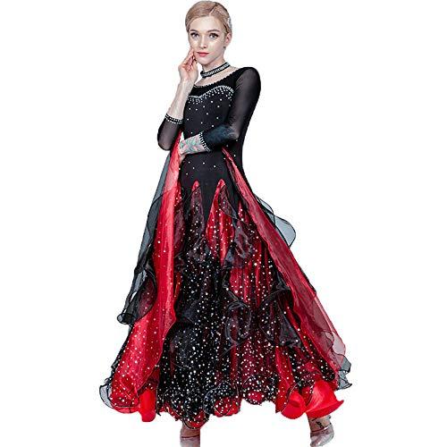 Kleid Kostüm Lyrical Dance - Lyrical Dress Dance Kostüm Faltenrock Durchsichtiges Mesh-Band Pailletten Langarm Maxi-Kleid für Ballsaal Ballett Latin Waltz Rumba,XXXL