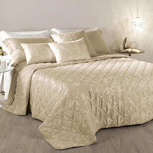 Elegante e raffinato trapuntino copriletto trapuntato raso jacquard cotone e poliestere passion letto matrimoniale caleffi (beige)