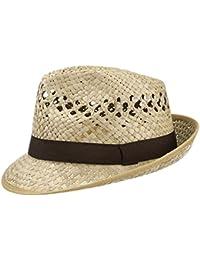 Classic Strohhut (Trilby) aus 100% Stroh für Damen und Herren, Farbe natur, Größen S, M, L und XL, Sommerhut mit schwarzem Ripsband, luftiger Sonnenhut made in Italy, idealer Strandhut für den Sommer