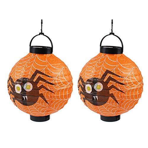 Mobestech 2 Stück Halloween Papierlaterne Kürbis Spinne Fledermaus Skelett Laterne Halloween Party Supplies