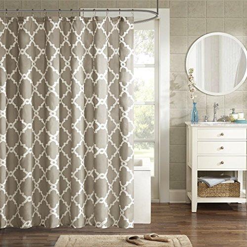 ezon-ch anpassen Wasserdicht Weiß Geometrische gemustert Polyester-Print-Home Hotel Wohnungs Badezimmer Dusche Vorhang, Textil, taupe, 54x78 (Dusche Vorhang Kostüm)