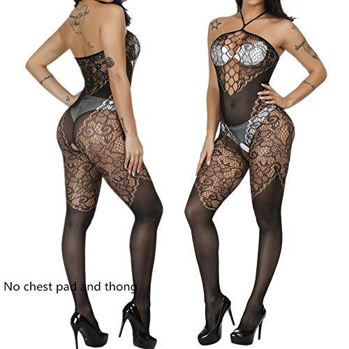 Schwarz Kostüm Strapless Bodysuit - ZUOLUO Frauen Dessous Erotisches Kleid Damenunterwäsche EIN Stück Spitzen Babydoll Bodysuit Kostüm-Outfit Sexy Spitzen Riemchen Bodystocking Black