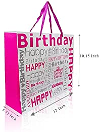 Fancy Gift Printed ***HAPPY BIRTHDAY PINK *** Medium Carry Bag Pack Of 5 Bag By Ezellohub **Delivery Free*