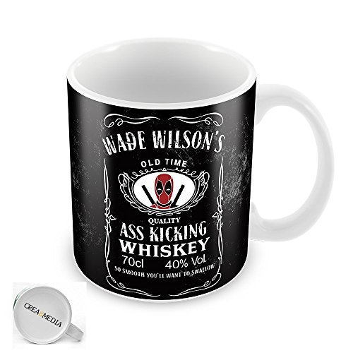 Wade Wilsons ASS Kicking Whisky Tazza Deadpool Ventola ispirato, 325ml, colore: bianco