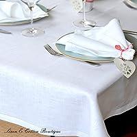 Lusso Linen & Cotton Tovaglia da Tavola In Stoffa Con Orlo A Giorno FLORENCE - 100% Linen (143 x 300cm) Bianco