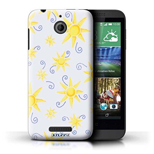Kobalt® Imprimé Etui / Coque pour HTC Desire 510 / Vert/Blanc conception / Série Motif Soleil Jaune/Blanc