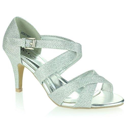 Femmes Dames Miroiter Lanières Talon Haut Plate-Forme Soirée Mariage Bal de Promo Sandale Chaussures Taille Argent