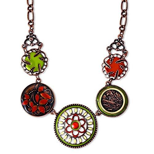 copper-tone-grun-orange-und-elfenbein-emaille-406-cm-mit-ext-halskette-jewelryweb