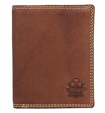Trifoglio Echt-Leder Herren Geldbörse Portemonnaie Brieftasche Portmonee Geldbeutel Kredit-Kartenetui Wallet Vintage hochwertig Organizer Reisebrieftasche 32009NC