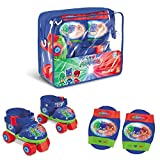Mondo Toys-Pattini a rotelle Regolabili PJ Masks per Bambini-Taglia dal 22 al 29-Set Completo di Borsa Trasparente, gomitiere e Ginocchiere, 18475