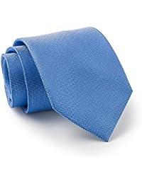 Savile Row Men's Mid Blue Birdseye Textured Silk Tie