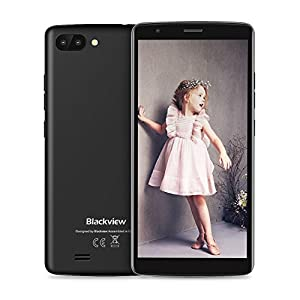 Blackview Mobile Phones Cheap, A20 (2018) Android GO, UK Sim-Free Smartphone with 5.5 Inch HD IPS Display - 8GB ROM - 5MP Dual Cameras - 3000mAh Battery - Bluetooth - GPS Smartphone - Gray