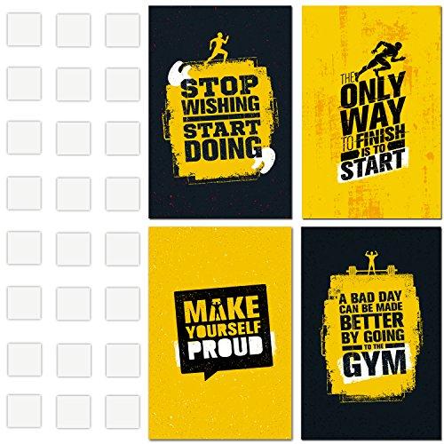 Motivational Gym Poster-Set von 4Plakaten 27,9x 43,2cm Größe-Inspirierende Art Wand für Training und Übung-TRX, Crossfit, Cardio, Calisthenics, Gewicht heben, Spinning, Zumba, und Running