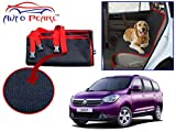 Autopearl Car Rear Seat Pet Cover for Renault Lodgy (Dark Blue and Red)