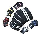 Training Kniebandage [Knee Wraps 72 inches] von fiteee – Profi Kniebandagen für Fitness, Kraftsport, Bodybuilding, Powerlifting & Crossfit - für Frauen & Männer geeignet (White)