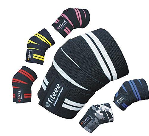 Training Kniebandage [Knee Wraps 72 inches] von fiteee - Profi Kniebandagen für Fitness, Kraftsport, Bodybuilding, Powerlifting & Crossfit - für Frauen & Männer geeignet (White)