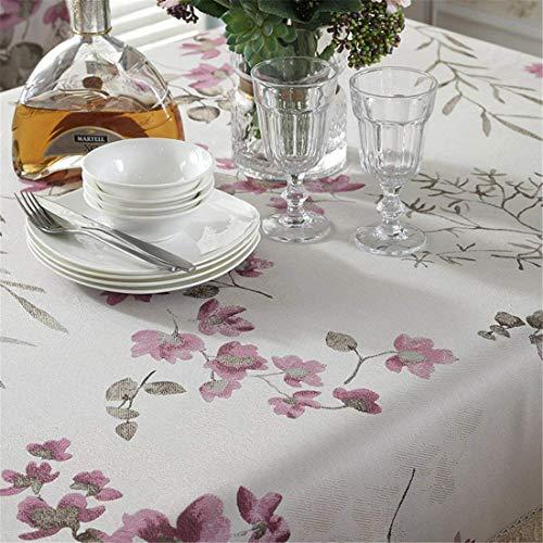 MJY Tischdecken, rote Blumentischdecke mit wasserlöslicher Spitze und wunderschöner Blumenstickerei für Ess- / Tee- / Fernsehtisch Kühlschrank/Schrank/Mikrowelle Ca.