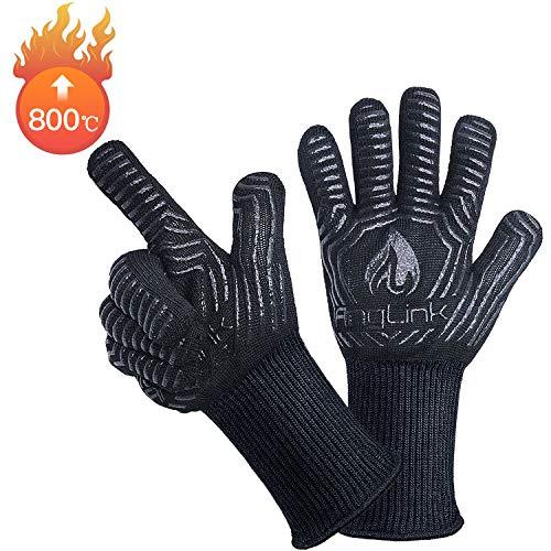 Produktbild AngLink Grillhandschuhe, BBQ Handschuhe bis zu 800°C 1 Paar Rutschfeste Hitzebeständiger Handschuhe mit Silikon Ofenhandschuhe Topfhandschuhe Backhandschuhe für Grill Kochen Backen und Schweißen 33CM