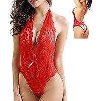 Mujeres lencería body tallas grandes de encaje babydoll abierto ropa interior dormir bondaje forma de corazón by Sannysis (Rojo, 2XL)