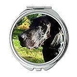 Yanteng Spiegel, runder Spiegel, Französische Bulldogge Nemecka Doga Cierny PES Les, Taschenspiegel, 1 X 2X Vergrößerung