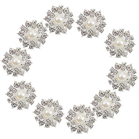 10pcs Botones De Perlas De Imitacion De Cristal De Cana De La Decoracion Del Arte De DIY 22mm Color Beige