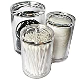 Kovira Clear Acrylic Plastic Cosmetic Container Organiser Jars with Lids - 1 Set of 3 Attached Containers for Beauty Supplies, Small Makeup Products and Samples - Essential Organizers