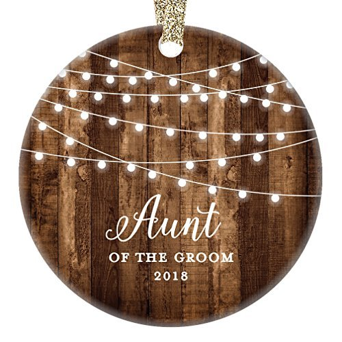 qidushop Aunt of The Groom Gifts 2018, Groom's Aunt Christmas Ornament Wedding Favor Bridal Party Auntie from Nephew Rustic Farmhouse Collectible Present Flat Circle Porcelain Funny (Favor Birthday First Ideen Party)