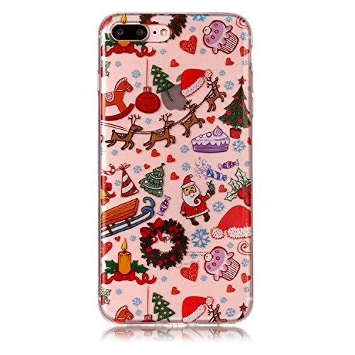 Apple iPhone 7 Plus/iPhone 8 Plus 5.5 Hülle, Voguecase Silikon Schutzhülle / Case / Cover / Hülle / TPU Gel Skin Handyhülle Premium Kratzfest TPU Durchsichtige Schutzhülle für iPhone 7 Plus/iPhone 8 P Weihnachten