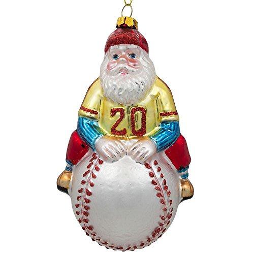 BestPysanky Santa Baseball Player Glass Christmas Ornament 5 Inches -