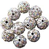 Lot de 10 Perles Style Shamballa Strass Cristal 10 mm - Aurore