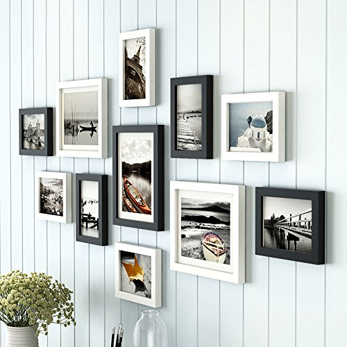 Art street - Black and White Boulevard set of 11 individual wall photo frame for wall hanging (8-6X8, 3-8X10)