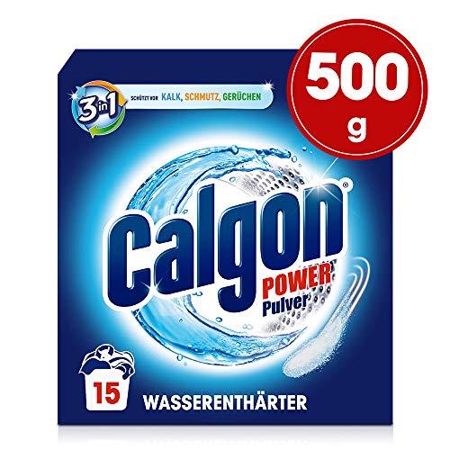 Calgon 3in1 Power Pulver - Wasserenthärter gegen Kalkablagerungen und Schmutz in der Waschmaschine - Beugt unangenehmen Gerüchen vor - 1 x 500 g